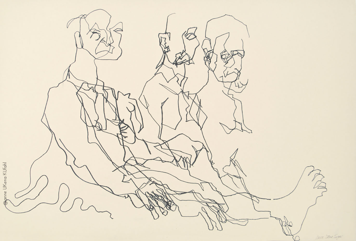 Three Men blind contour drawing by Anne Kufahl